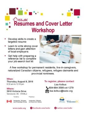 Resumes And Cover Letter Workshop Career Development Newcomer