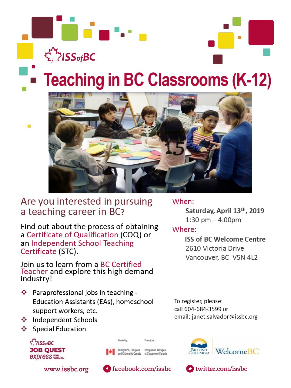 Teaching in BC Classrooms (K-12) | Career Development Events